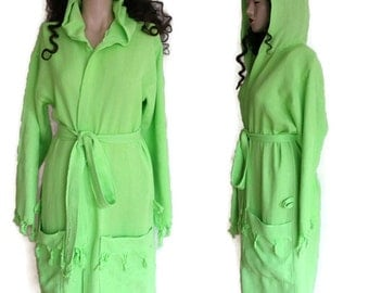 Cotton Bathrobe,Bamboo Bath Robe, Green Kimono Robe, Beach Cover Up, Maternity Hospital Gown, Dressing Gown, Hooded Bathrobe Bridesmaid Gift