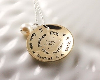 I love you a bushel & a peck necklace - Grandmother necklace - Custom hand stamped - Song lyric necklace - Quote necklace - Gold color