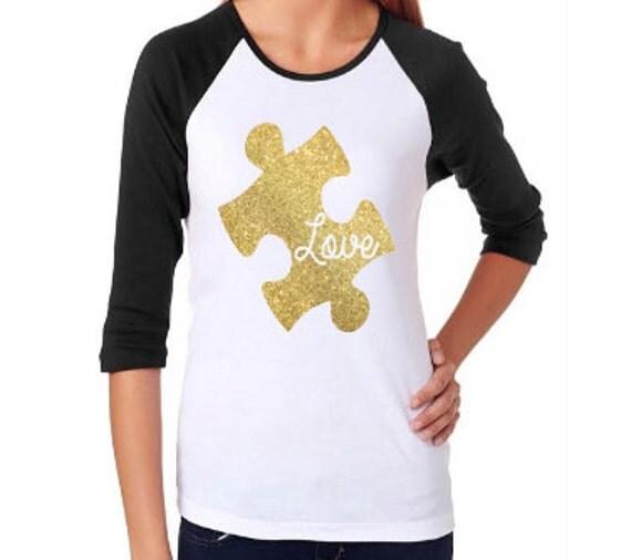 Love Puzzle Piece Autism Awareness All Sizes Shirt Raglan