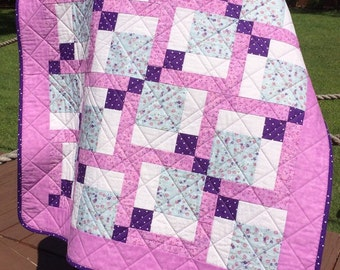 "It's A Passion For Purple In This 38.75"" X 38.75"" Quilt"