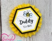 Name Tags/Corsages - Bumble Bee Yellow, Black & White Baby Shower Cardstock Corsages - Gender Reveal Pins - Mommy To Bee, Daddy To Bee