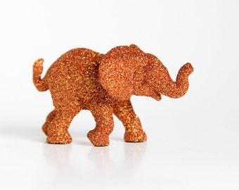 Orange Baby Elephant Fall Safari Baby Shower Decoration, Glitter Critter for Birthdays, Wedding Cake Topper, Table Settings or Nursery Decor