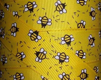 7/8 Inch Grosgrain Ribbon - Printed Grosgrain Ribbon - Yellow Bumble Bee Ribbon - Ribbon By The Yard - Ribbon Supplies - Little Bee Ribbon