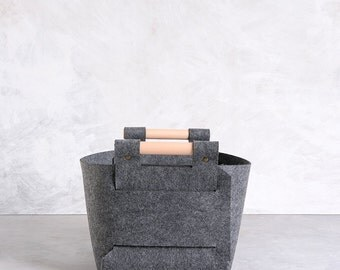 Large Storage Basket -  Grey Storage Bin - Felt Storage Box - Nursery Storage -  LB-02