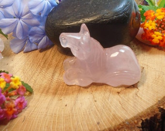 Rose Quartz Horse, Hand Carved Rose Quartz, 2 Inches x 1 1/2 inch x 1