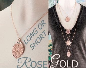 Rose gold necklace REAL ROSE flower Leaf / Long chain necklace/ Rose gold jewelry / pink gold / Boho chain necklace/ Best friend bridesmaids