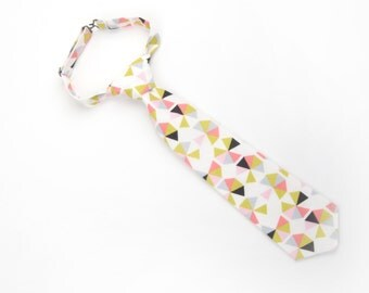 Pink Triangles tie, boys easter tie, toddler easter tie, pink tie, easter tie, pink and green tie, baby easter tie, pink boys tie, pre-tied