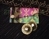Small Assiut Zills Pouch- Bright Pink and Green Ikat Silk Finger Cymbals Bag