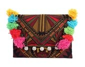 Clutch Embroidered Fabric With Colorful Threads Thailand  (BG306WH-92C39)