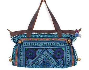 Shoulder Bag Genuine Leather Strap With Embroidered Fabric  (BG715-BDIA)