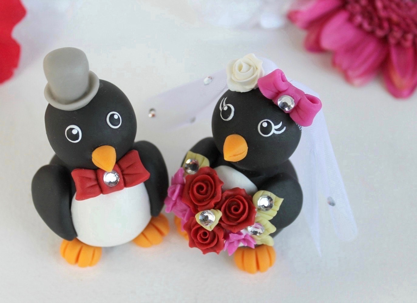 Penguin wedding cake topper love bird cake topper custom