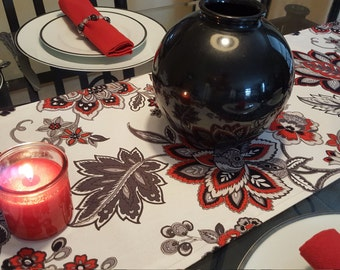 Red, White and Black Table Runner,          Big and Bold Table Runner