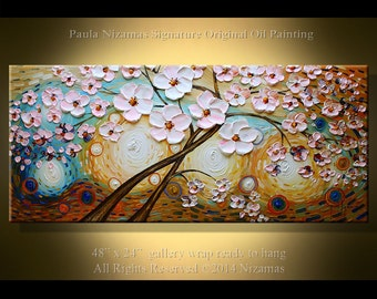 Painting on canvas Original Landscape art Oil & acrylic Blossom Magic Hand painted Impresionist Nizamas