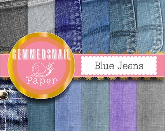 Denim digital paper 'Blue jeans' denim background fabric digital paper from denim jeans