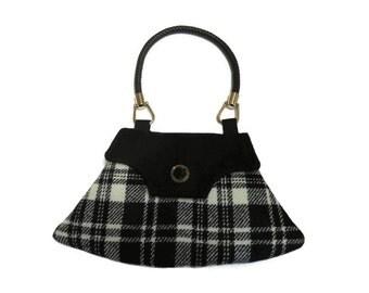 1940's Vintage Inspired Clutch Bag Black & White Check Wool Harris Tweed Purse