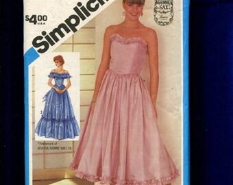 Vintage 1984 Simplicity 6386 Gunne Sax Bridesmaid Dresses Strapless Off Shoulder Ruffle Chevron Drop Waist Size 14
