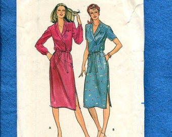 Vintage 1980's Butterick 3166 Notched Collar Slender Dress with Wrap Bodice Size 12  14  16 UNCUT