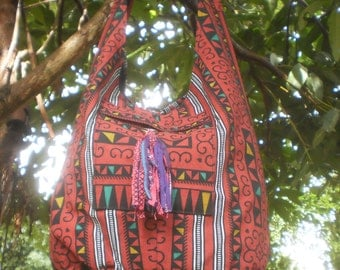 Hmong Print Messenger Bag, Tote Bag, Cross Body Purse, Tribal Print Bag, Tribal Bag, Hand Made Bag, Boho Bag