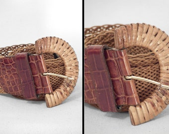 Leather RATTAN Belt 70s DETAILS Patricia Green Wide Braided 19 - 32 Waist