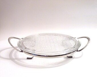Vintage Chrome and Glass Cheese Tray