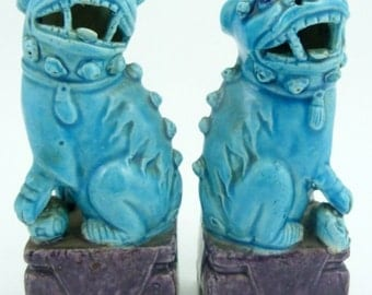 Foo dog pair turquoise blue glazed, from China in the 1940's part of private collection of estate of J. Phillips Masterson 6""
