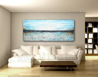 """Large landscape painting original 72"""" abstract art 6ft white blue ocean painting modern abstract oil painting by L.Beiboer FREE Shipping"""