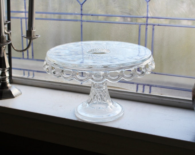 Vintage Lace Edge Cake Stand McKee Plymouth Thumbprint With Rum Well