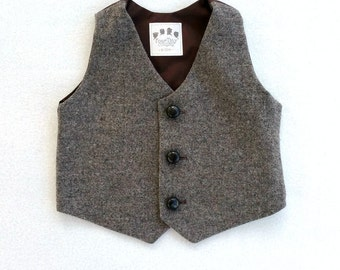 Boys Vest, Tweed vest, ring bearer vest, boys photo prop, tweed waistcoat, boys wool vest, brown vest, baby boy, baby boy vest