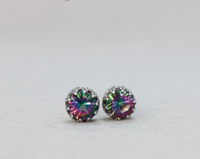 Stud Earrings Mystic Topaz Silver Stud Earrings 7 mm Sparkly Earrings Ear Studs Topaz Earrings sterling silver studs christmas gift