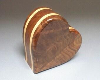 Figured Walnut Cremation Urn , Walnut and Maple  Cremation Urn, Unique Urn, Small Urn, Wood Urn, Heart Urn, Wooden Urn