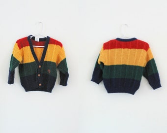 Vintage Toddler Boys Cardigan Toddler Girls Cardigan Vintage Baby Cardigan Toddler Striped Cardigan Primary Colors Sweater  2