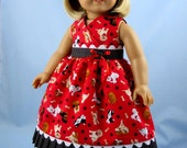 Doll Clothes American Girl - Doll Clothes 18 Inch  - Sundress and Hair bow - Red Puppies Print