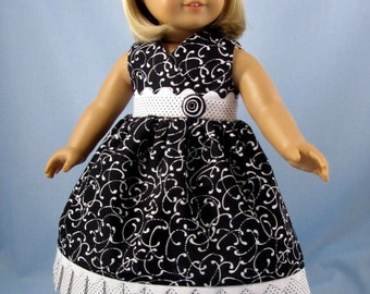 Doll Dress - Doll Clothes 18 Inch - fits American Girl - Sundress and Hair bow - Florrie - Black and White Swirls - 18 Inch Doll Clothing