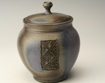 blue cover jar, pottery lidded jar, ceramic jar, stoneware jar, canister, unique cover jar, antique jar, carved lidded jar, candy jar