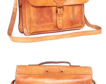 BREE Messenger tan leather bag leather backpack briefcase attache leather school bag