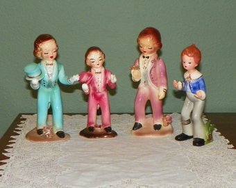 Vintage Japan Josef Original Boys Jacques Bob Teal Pink tuxedo men tails coats Doll Figurine Girl Like Lefton