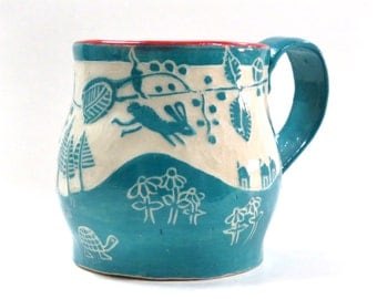 Hand Built MUG, Leaping BUNNIES Rabbits,  SGRAFFITO Carved, Exotic Landscape Trees Leaves Flowers Birds Turtles