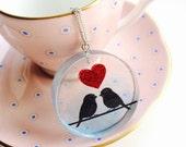 Love Bird Necklace - Red Heart Glitter Iridescent Resin Round Pendant Valentines Day