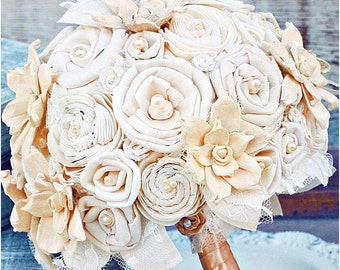 Gold Wedding Bouquet // Gold and Cream, Gold, Sola Flower, Bride's Bouquet, Sola Wood, Wedding Bouquet, Fabric Bridal Flower, Bouquet