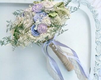 Sola Flower Bouquet - Spring Wedding // Bridal Bouquet, Lavender, Wedding Bouquet, Purple, Burlap Wedding Flowers, Dried Flower Bouquet