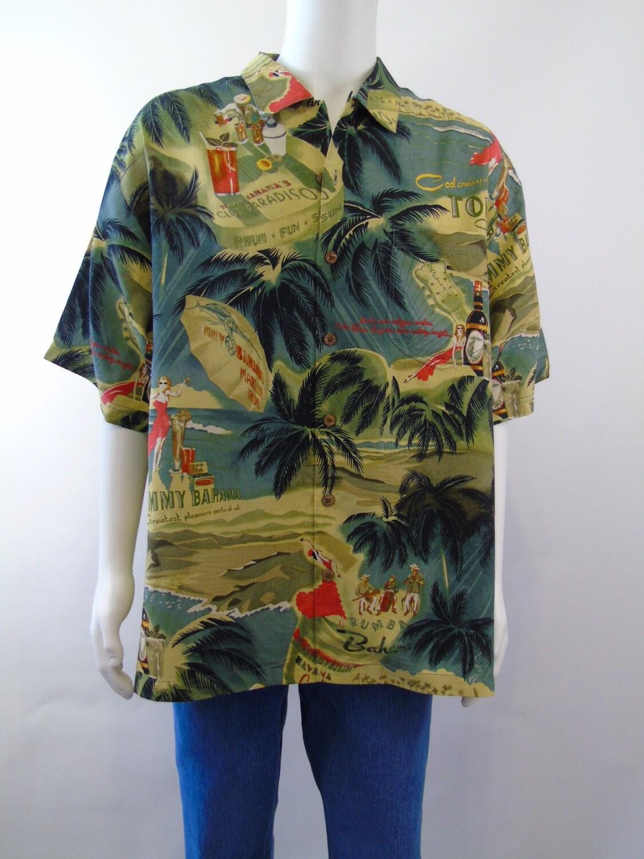 Club Paradiso Tommy Bahama Shirt Hawaiian Print Camp Shirt
