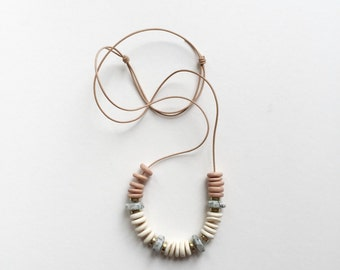 NEW Wood Necklace : Jasper with Wood and Brass on Leather Cord