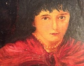 Antique oil painting oil on canvas portrait painting of young woman