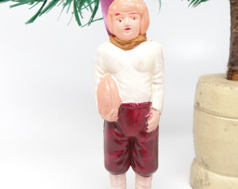 1940's Football Player Christmas Tree Ornament, Antique Celluloid Doll Toy