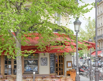 Paris Cafe Photograph, Favorite Corner on Île Saint-Louis, Paris Art Print, Large Wall Art, French Kitchen Decor, Travel Photograph