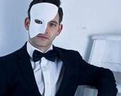 White or Black Handmade Leather Phantom of the Opera Masquerade Mask