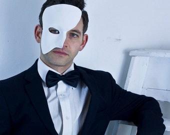 Black or White Leather Phantom of the Opera Mask, Masquerade Ball