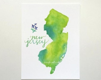 New Jersey watercolor state art print hand lettering wall art