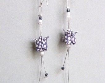 Dark gray and white Lotus flower Origami earrings