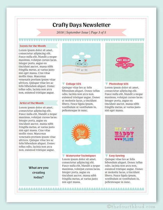 cotton candy newsletter layout 7 newsletter template in pdf. Black Bedroom Furniture Sets. Home Design Ideas